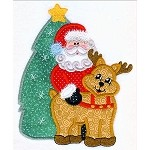Santa Reindeer Applique Design