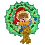 Elf Wreath Applique Design