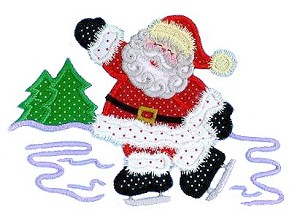 Santa Skating Applique Design