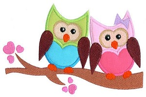 Owl Love Applique Design