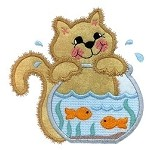 Fishbowl Kitty Applique Design