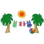 Swimsuit Palms Applique Design