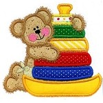 Rock-A-Stack Baby Bear Applique Design