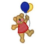 Teddy Bear Balloons Applique Design