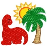 Dinosaur And Palm Applique Design