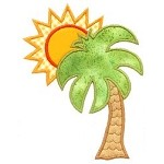 Palm Tree And Sun Applique Design