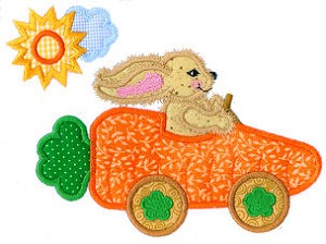 Bunny Carrot Car Applique Design
