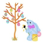 Bunny Painting Eggs Applique Design