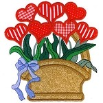 Heart Basket Applique Design