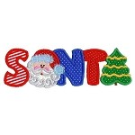 Santa Word Applique Design