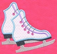 Ice Skates Applique Design