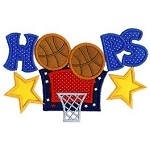 Hoops Basketball Applique Design