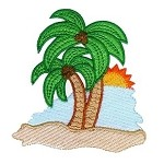 Palm Sunset Embroidery Design