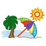 Summer Beach Umbrella Applique Design