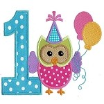 Number One Applique Party Owl Design