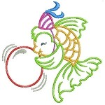 Balloon Fish Embroidery Design