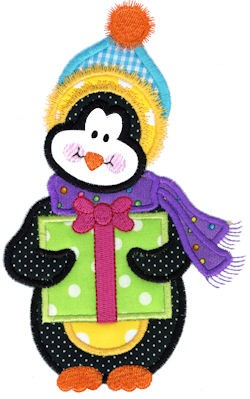 Bearing Gifts Penguin Applique Design