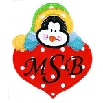 Love Penguin Applique Design