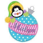 Christmas Ornament Penguin Applique Design