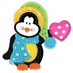 Little Bit O' Heart Penguin Applique Design