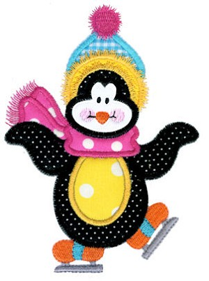 Snowflake Penguin Applique Design