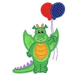 Dragon and Balloons Applique Design