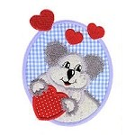 Heart Koala Applique Design