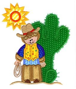 Cactus Cowboy Applique Design