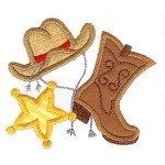 Cowboy Hat and Boots Applique Design