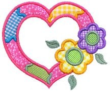 Heart and Flowers Applique Design