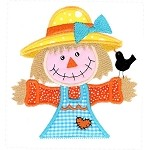 Scarecrow Girl Pocket Topper Applique Design