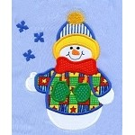 Flaky Snowman Applique Design