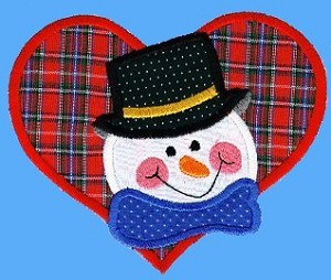 Snowman Heart Applique Design