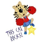 This Cat Rocks Applique Design