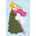 Snowman Ladder Applique Design