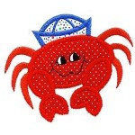 Happy Crab Applique Design
