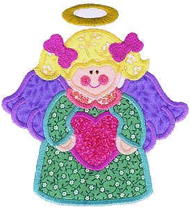 Heart Angel Applique Design