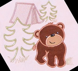 Campground Bear Embroidery Applique Design