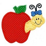 Apple With Worm Applique Design