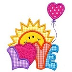 Love Sun Applique Design
