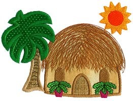 Grass Hut Applique Design
