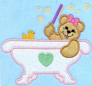 Bathtub Teddy Applique Design