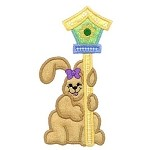 Bunny Birdhouse Applique Design