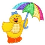 Pouring Rain Ducky Applique Design