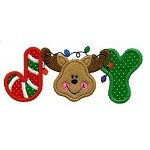 Reindeer Joy Word Applique Design