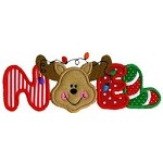 Noel Reindeer Word Applique Design