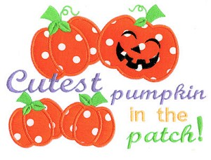 Cutest Pumpkin In the Patch Applique Design