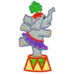 Dancing Elephant Applique Design