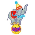 Elephant Ball Applique Design