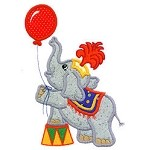 Elephant Balloon Applique Design